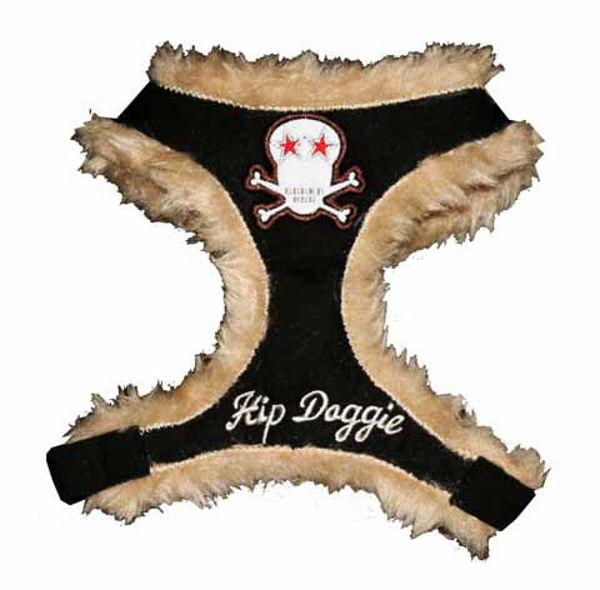 Picture of Black Fur Skull Harness Vest.
