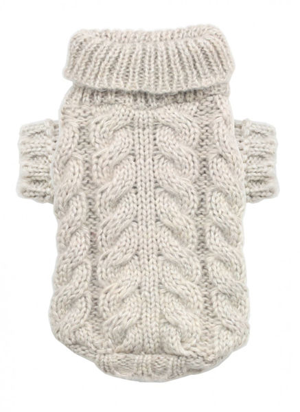 Picture of Sand Angora Cable Knit Sweater.