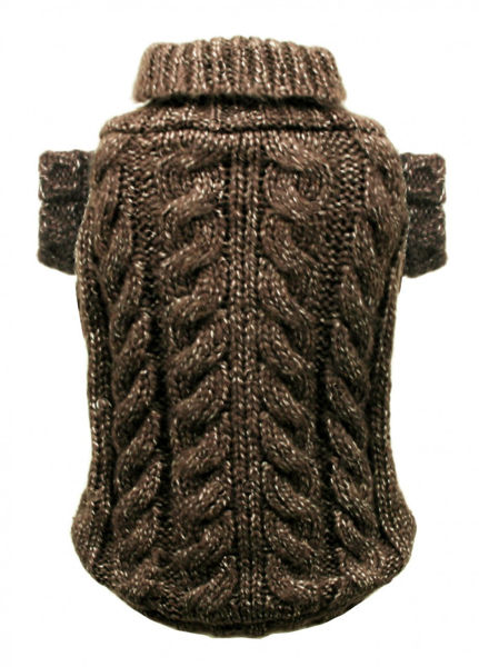 Picture of Chocolate Angora Cable Knit Sweater.