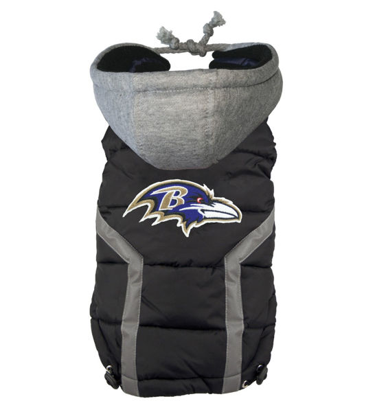 Picture of Baltimore Ravens Dog Puffer Vest.