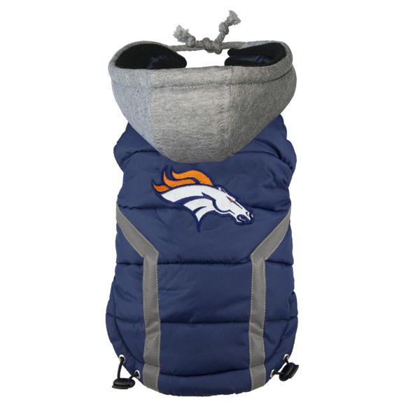 Picture of Denver Broncos Dog Puffer Vest.