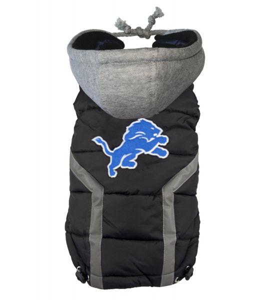 Picture of Detroit Lions Dog Puffer Vest.