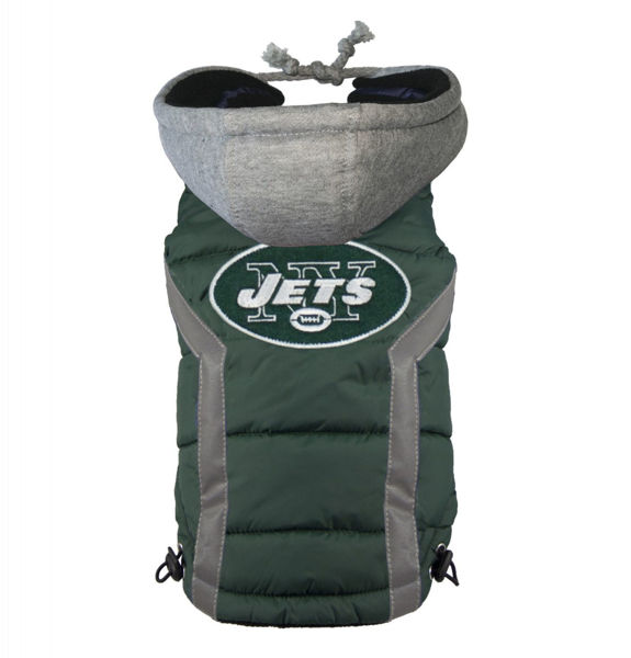 Picture of New York Jets Dog Puffer Vest.