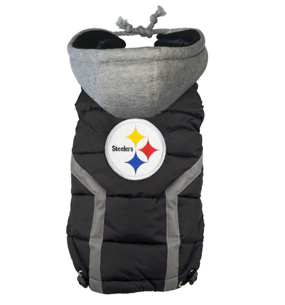 Picture of Pittsburgh Steelers Dog Puffer Vest.