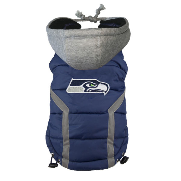 Picture of Seattle Seahawks Dog Puffer Vest.