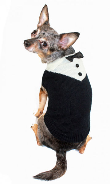 Picture of Black Tux Sweater.