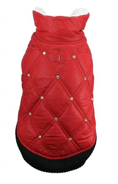 Picture of HD Rhinestone Puffer Vest - Red.