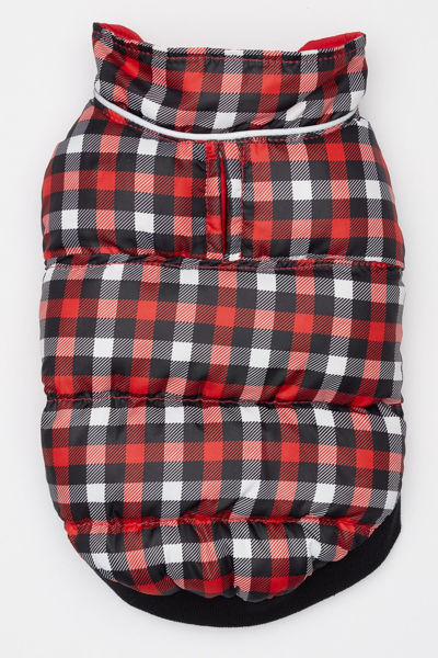 Picture of Flex-Fit Reversible Puffer Vest - Red/Gingham