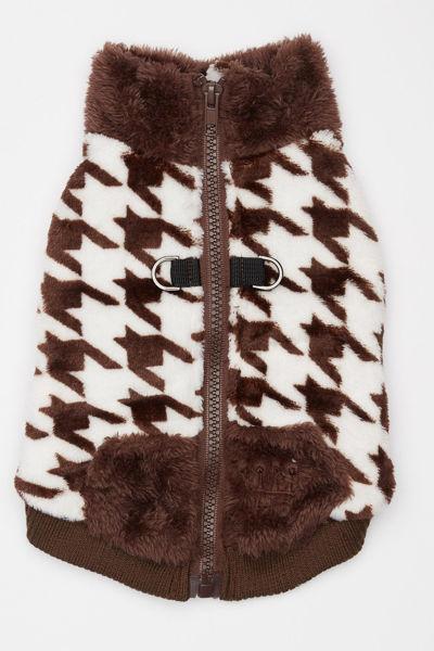 Picture of Houndstooth Butter Fleece Vest - Brown
