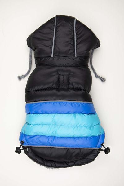 Picture of Soft Stripe Puffer Coat - BLACK